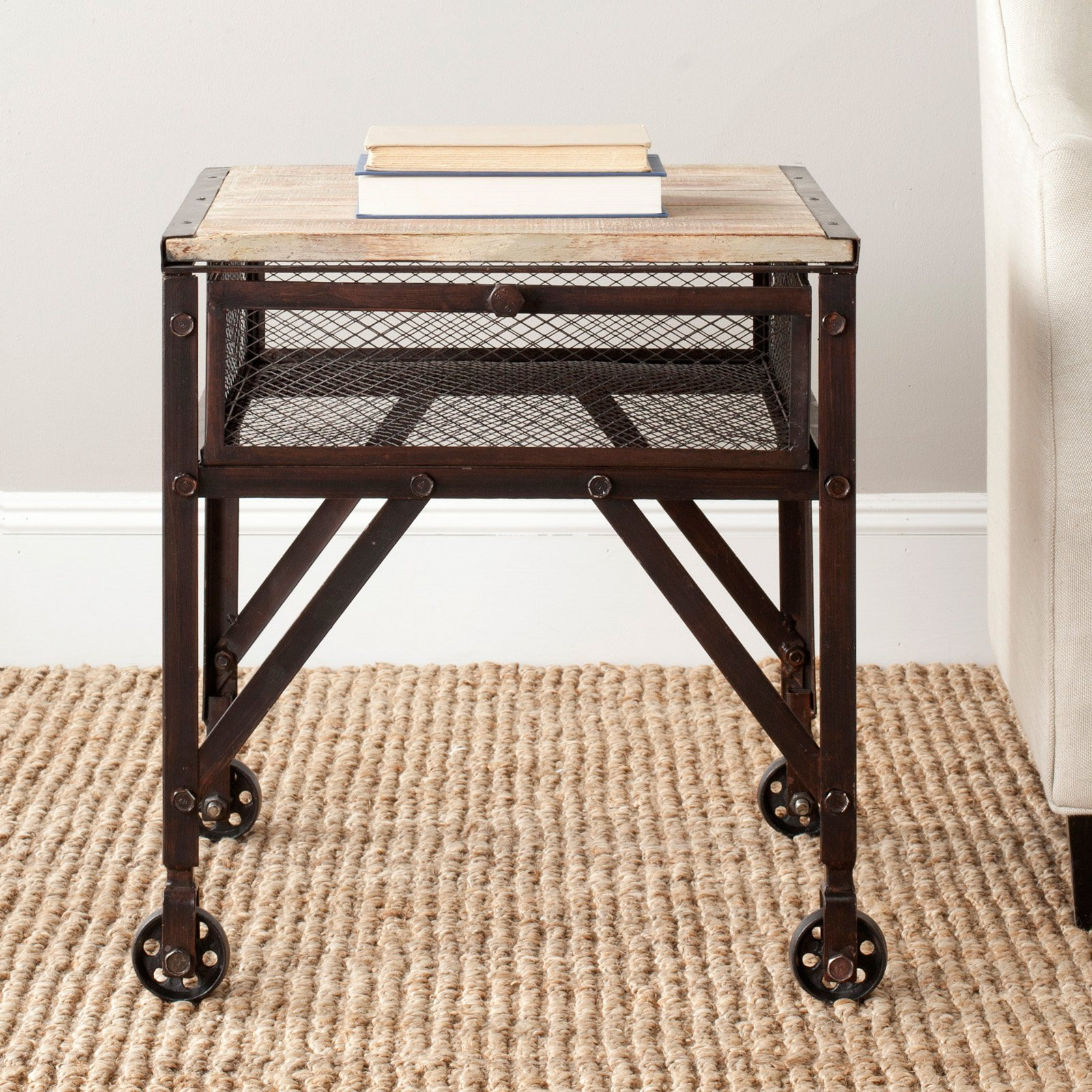 Safavieh Linus Rolling End Table - Natural with Black Brushed