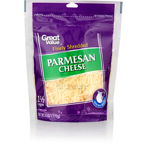 Great Value Finely Shredded Parmesan Cheese, 6 oz