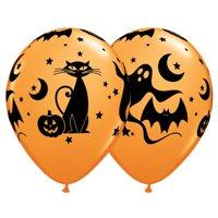 "Qualatex Halloween Black Cat, Bats, & Ghosts 11"" Latex Balloons, Orange, 6 CT"