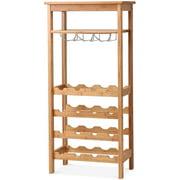 Gymax Bamboo Wine Rack Countertop Bottle Storage Free Standing w/ Glass Hanger & Shelf