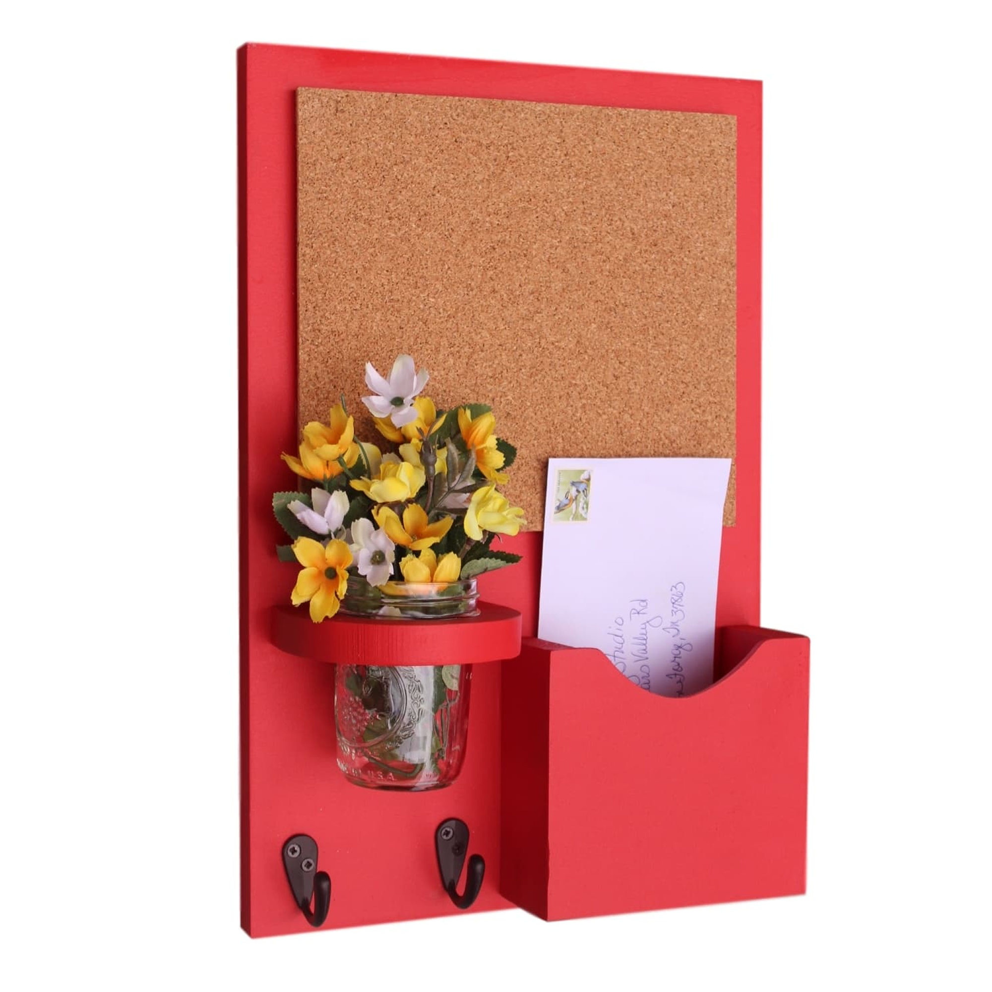 Mail Organizer with Small Cork Board, Key Hooks & Mason Jar