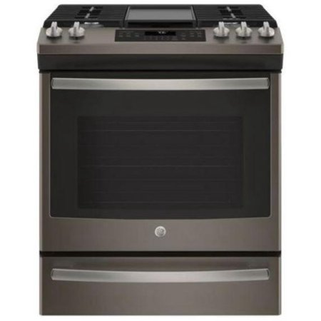 """JGS760EELES 30"""""""" Slide-In Gas Range with 5 Sealed Burners  5.6 cu. ft. Oven Capacity  Griddle  Self Clean with Steam Clean Option  in Slate"""