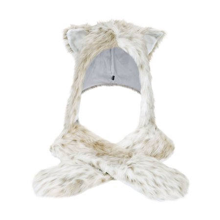Faux Fur Animal Hoods With Attached Paws (Full Animal Hood Hoodie Hat Cap with Paw Mittens Gloves Faux Fur 3 in)