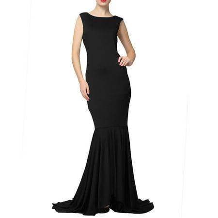 Women Sleeveless Open Back Asymmetric Hem Maxi Dress Black L