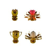 Exciting Candle Rotating Magic Sparkler Lotus Flower Birthday Candle, 2 Pack, 1 Gold Lotus and 1 Golf Trophy Birthday Candle