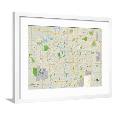 Political Map of Wichita, KS Framed Print Wall (929 N St Francis Wichita Ks 67214)