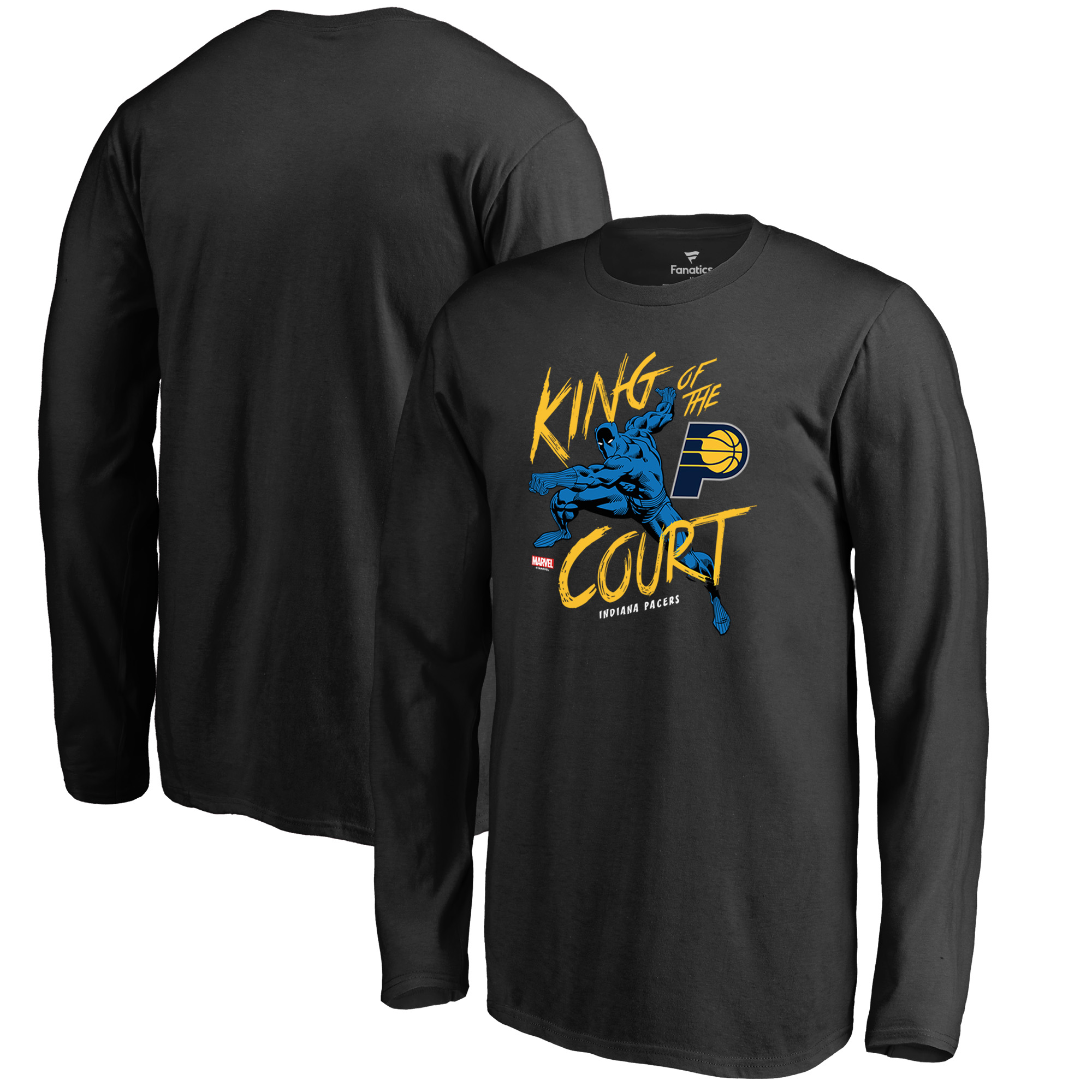 Indiana Pacers Fanatics Branded Youth Marvel Black Panther King of the Court Long Sleeve T-Shirt - Black
