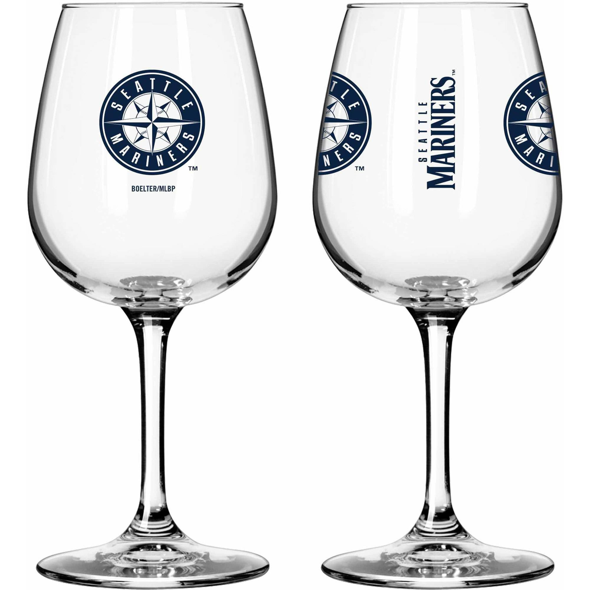 Boelter Brands MLB Set of Two 12 Ounce Wine Glass Set, Seattle Mariners