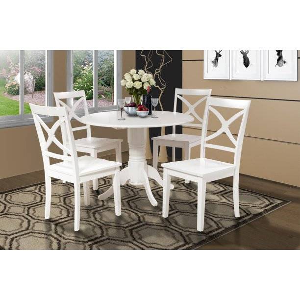 Burlington 5 Piece Small Kitchen Table Set Kitchen Table And 4 Dining Chairs Finish White Shape Round Walmart Com Walmart Com