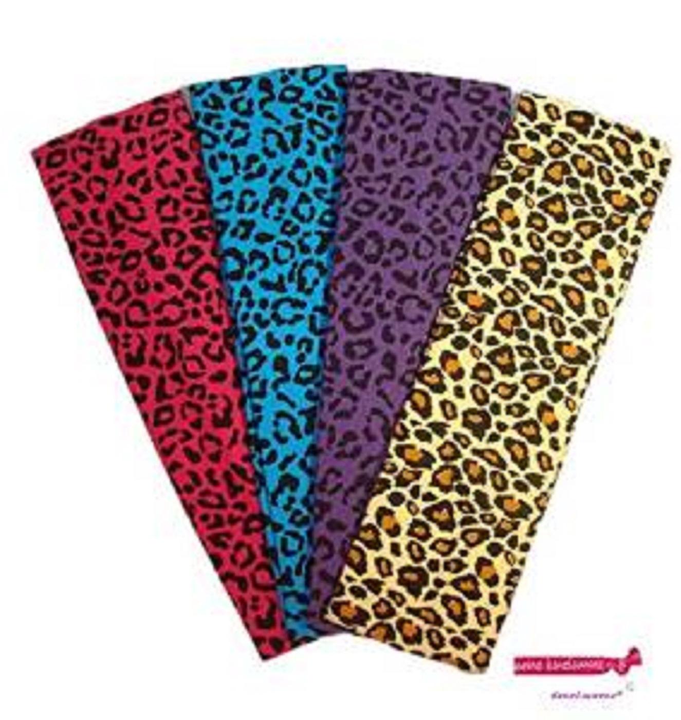 Kenz Laurenz Cotton Headbands 4 Soft Stretch Headband Sweat Absorbent Elastic Head Bands Cheetah Set