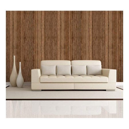 wall26 - Vertical Brown Retro Wood Textured Paneling - Wall Mural, Removable Wallpaper, Home Decor - 100x144 inches Brown Wood Panel Wallpaper
