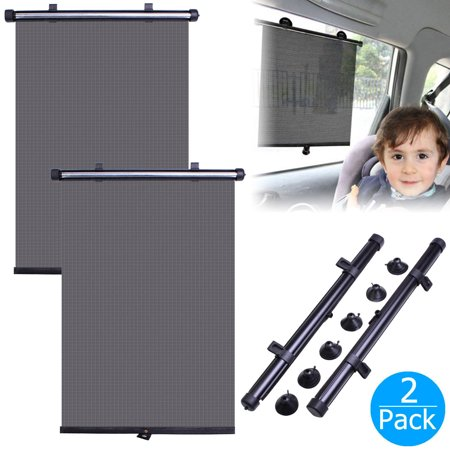Car Sun Window Shade, 2-pack Car Premium Suction Cups Universal Auto Windows Protector Shades for Baby, Kids, Pets ()