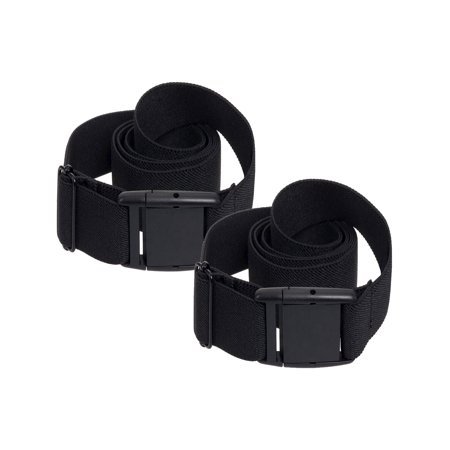 Adjustable Elastic No Show Flat Buckle Stretch Belt 2 Pack 2 Adjustable Belt