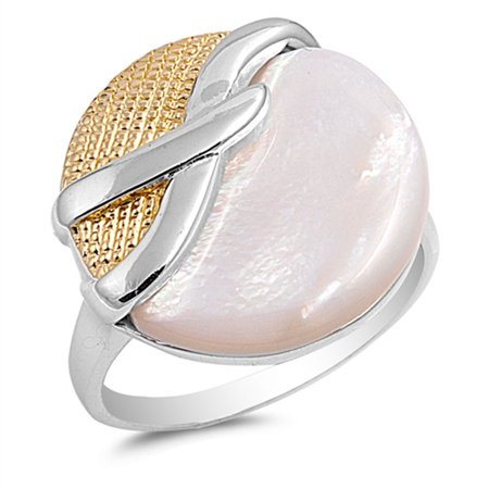 Simulated Mother of Pearl Unique Elegant Circle Ring ( Sizes 6 7 8 9 ) .925 Sterling Silver Band Rings (Size 6)