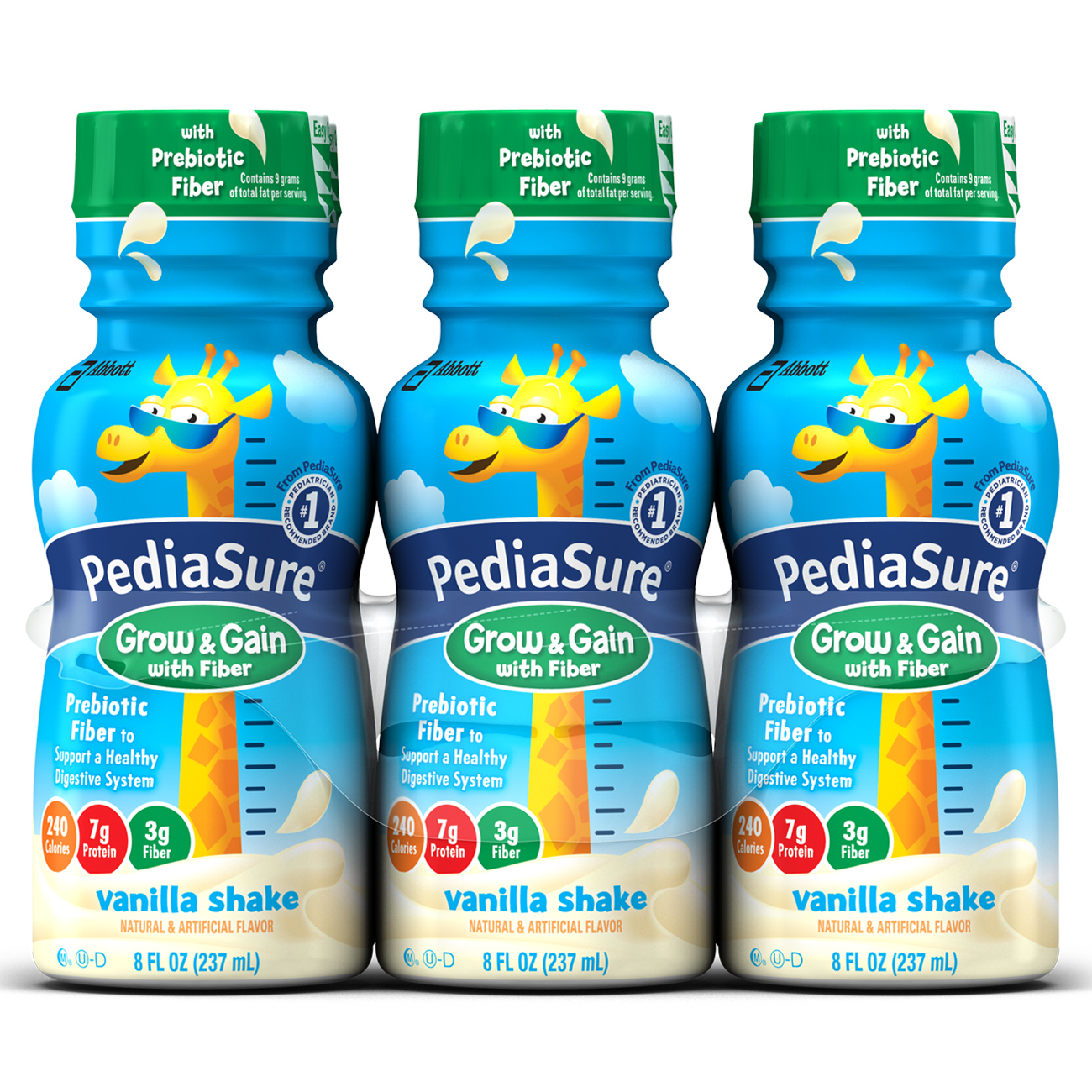 PediaSure Grow & Gain Nutrition Shake with Fiber For Kids, Vanilla, 8 fl oz, 6 Count