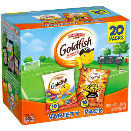 Pepperidge Farm Goldfish Colors Flavor Blasted Xtra Cheddar Baked Snack Crackers Variety Pack 20 Ct Box