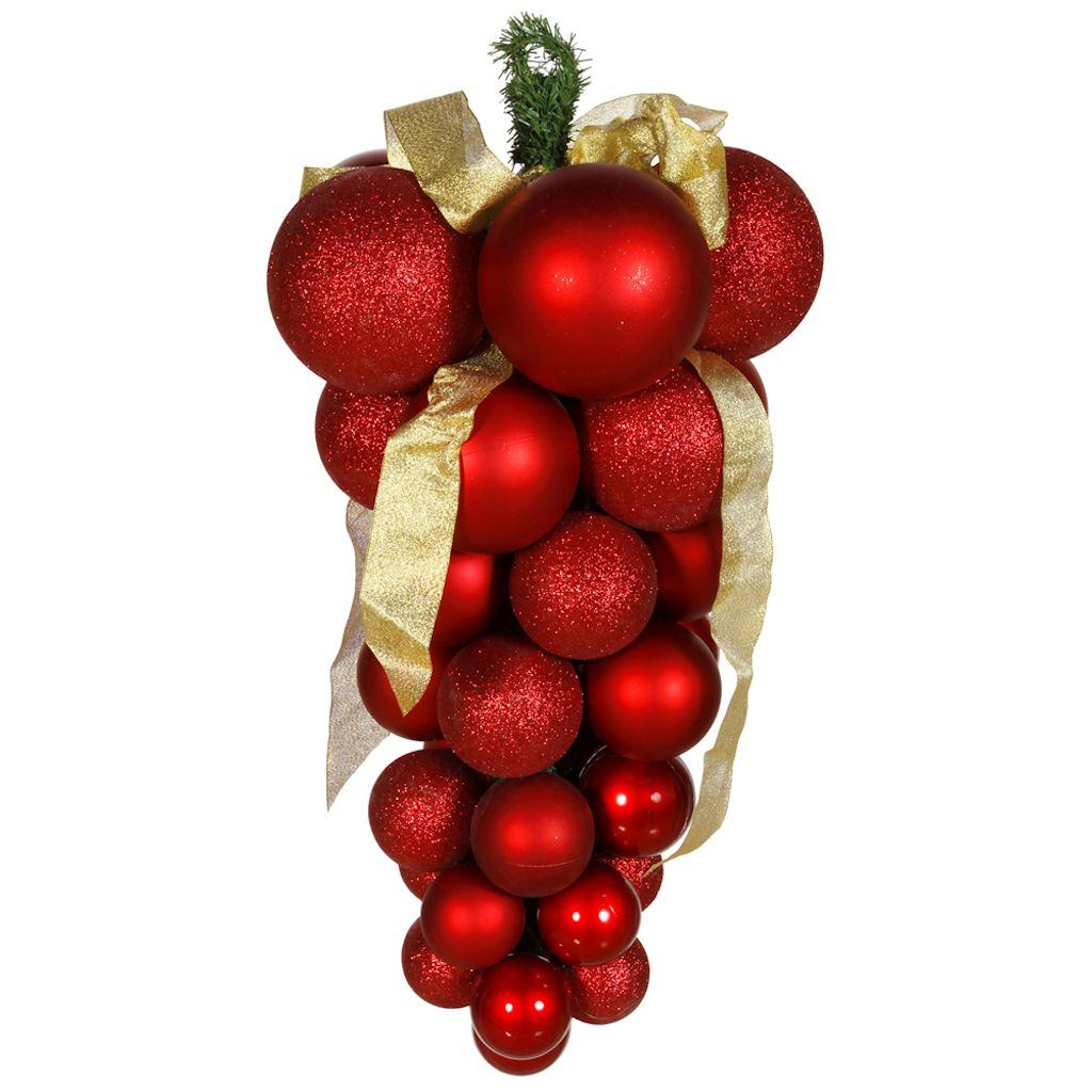 "(Price/each)Vickerman M118703 24"" Red Glaze-Glitt-Matte Grape Cluster, Grape Cluster Ornament"