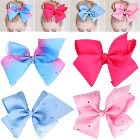 TINKSKY 4PCS Grosgrain Ribbon Hair Bows Rhinestone Bowknot Hair Clips Boutique Bows For Girls Kids Baby Teens - Boutique For Children