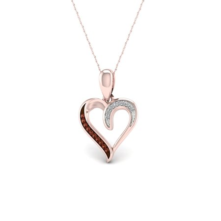 Imperial 1/20Ct TDW Diamond 10K Rose Gold Accent Heart Pendant