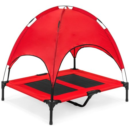 Best Choice Products Outdoor Raised Mesh Cot Cooling Dog Pet Bed for Camping, Beach, 36in, Red, with Removable Canopy, Travel