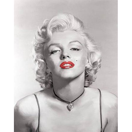 Marilyn Monroe Black And White Red Lips Necklace Canvas Wall Art