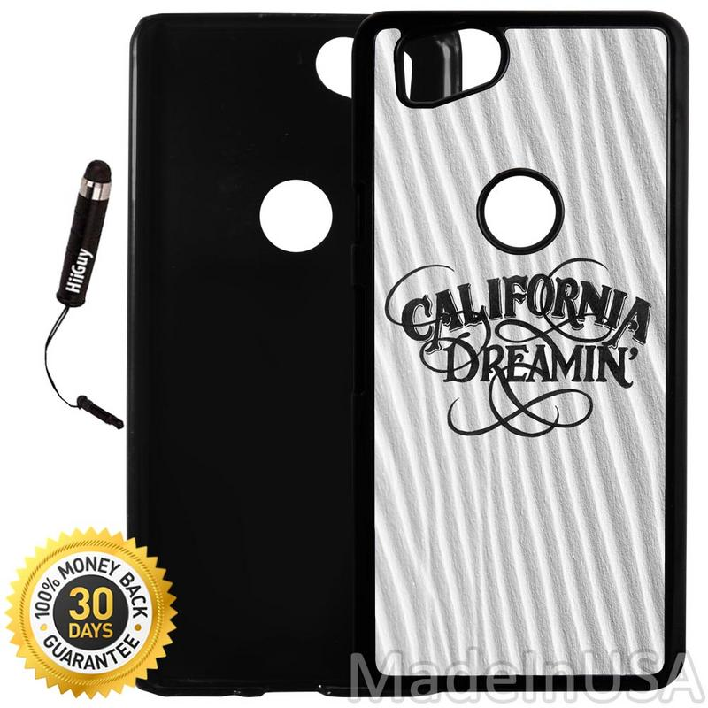 Custom Google Pixel 2 Case (California Dreaming on Sand) Plastic Black Cover Ultra Slim | Lightweight | Includes Stylus Pen by Innosub