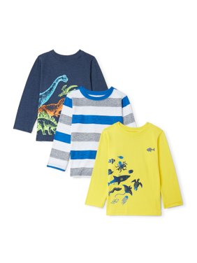 Garanimals Toddler Boy Long Sleeve Graphic T-Shirts, 3-Pack