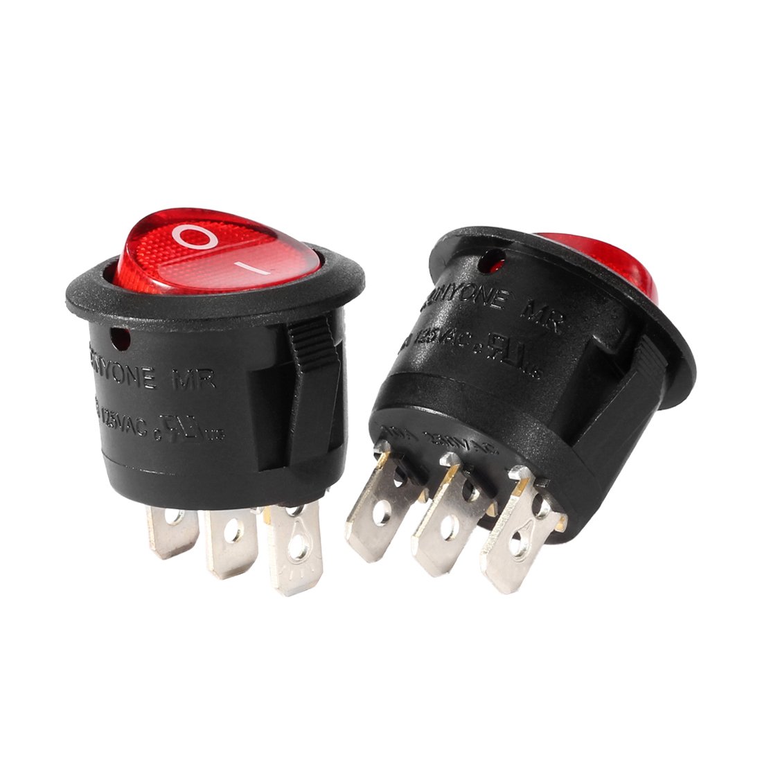 5Pcs Lamp 3 Terminal SPST 2 Position Round Button Rocker Switch UL Listed
