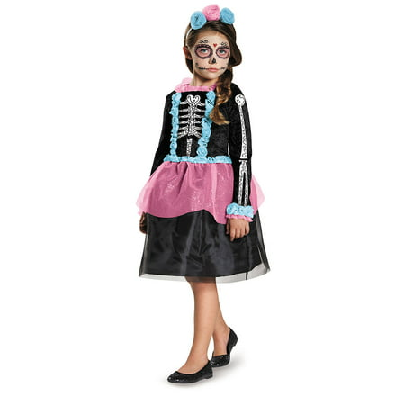 Girls Sweet Skeleton Costume Size Small 4-6X - Plastic Skeleton Life Size