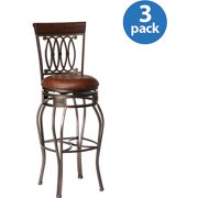 """Hillsdale Furniture Montello 43"""" Swivel Counter Stool, Set of 3, Old Steel Finish with Brown Faux Leather"""