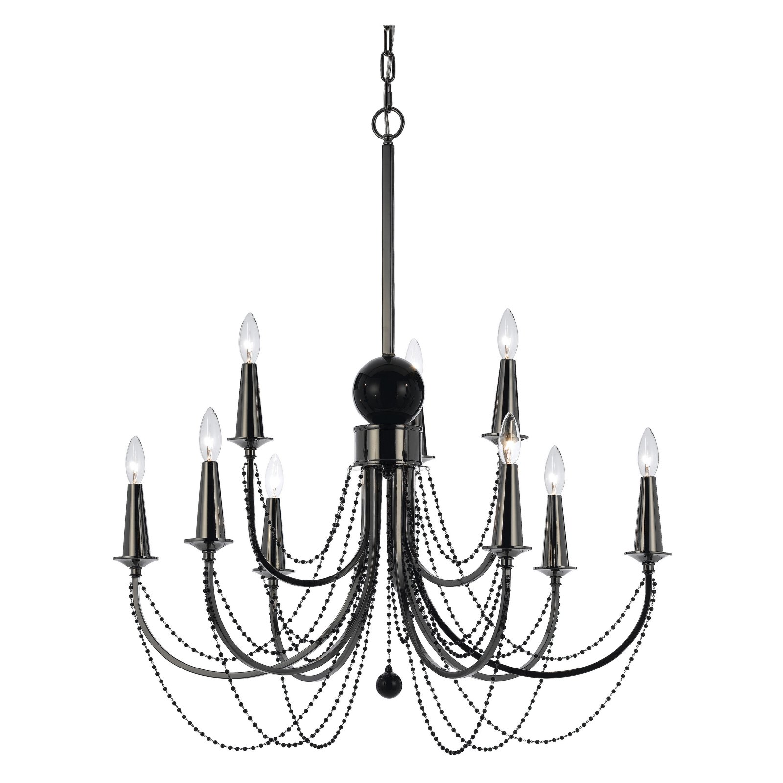 AF Lighting 8449 Nine-Light Chandelier in Black Nickel