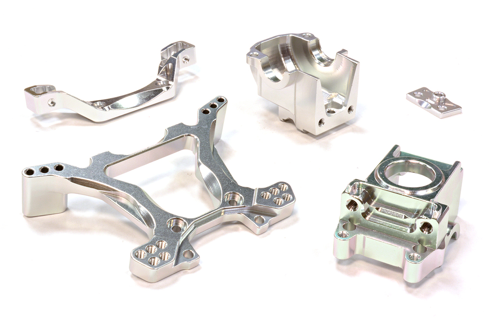 Integy RC Toy Model Hop-ups C25807SILVER Billet Machined Rear Gearbox & Shock Tower for... by Integy