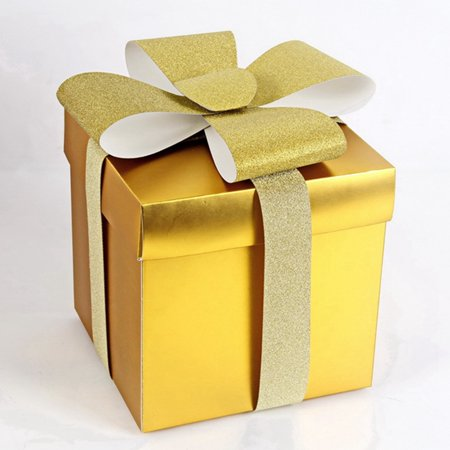 Christmas Present Box (AkoaDa 1/5pcs High Quality Gold and Silver Christmas Eve Birthday Gift Boxes Xmas)