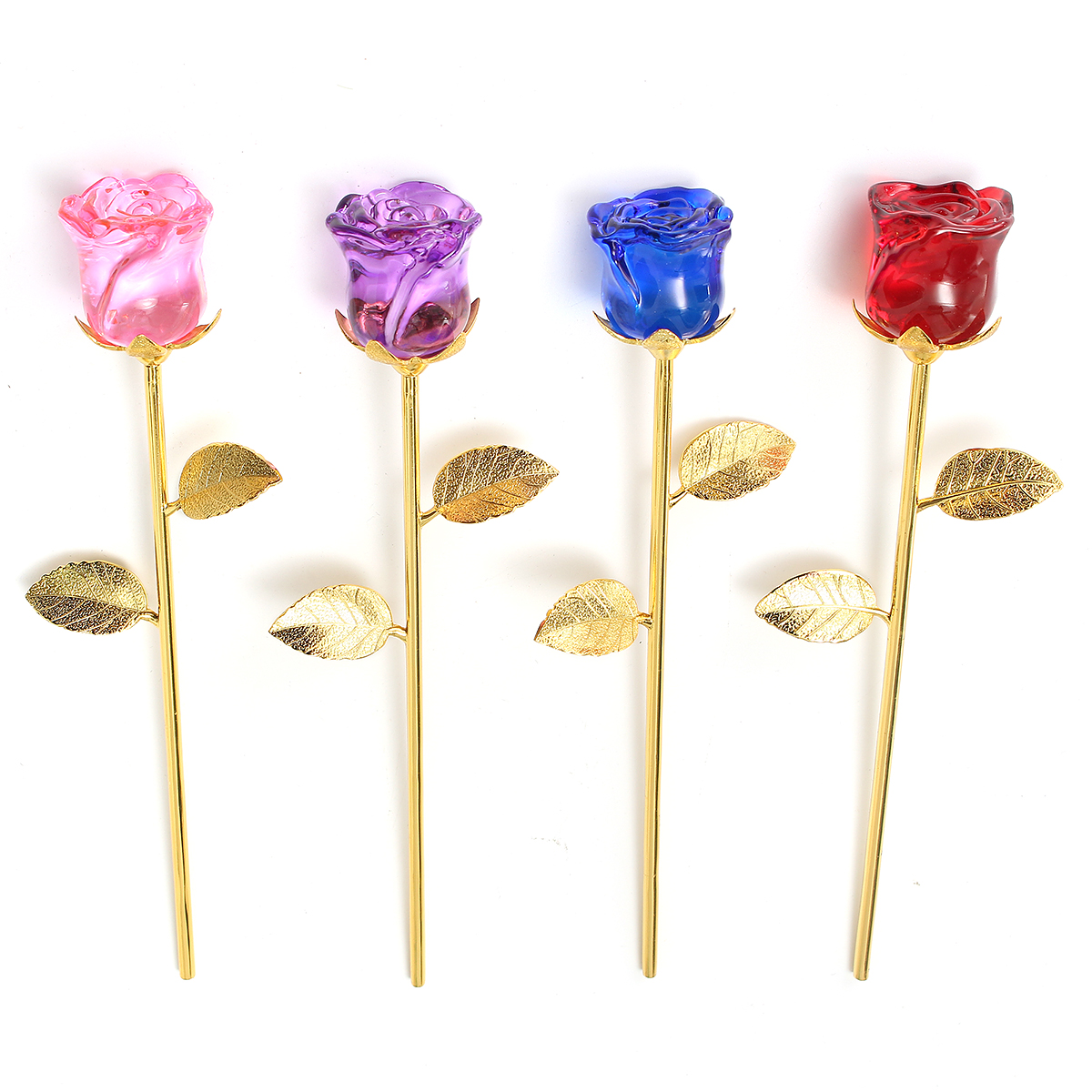 24K Gold Crystal Rose Dipped Flower Real Long Stem Valentine's Day Love Gift