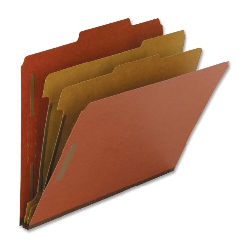 "Nature Saver Classification Folder - Letter - 8.50"" X 11"" - 6 Fastener - 2"" Folder, 1"" Divider Fastener Capacity - 2 Dividers - 25 Pt. - Pressboard - Red - 10 / Box (NAT01051)"