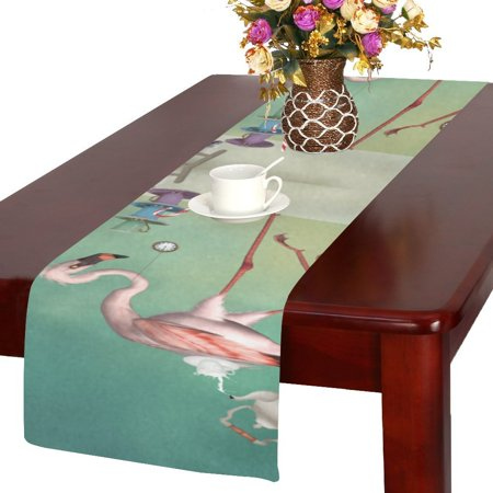 MYPOP Flamingo Tea Party Table Runner 14x72 inch For Dinner Parties Events Home Decor - Tea Party Table