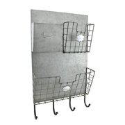 Rustic Metal 3 Compartment Mail Center Wall Organizer with Key & Coat Hooks
