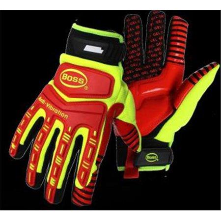 Gel Palm Gloves (Boss 1JM770X High-Vis Padded Gel Palm XL Glove - Pack of 6)