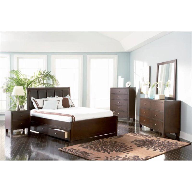 Coaster Furniture 5 Piece Upholstered King Panel Bedroom ...