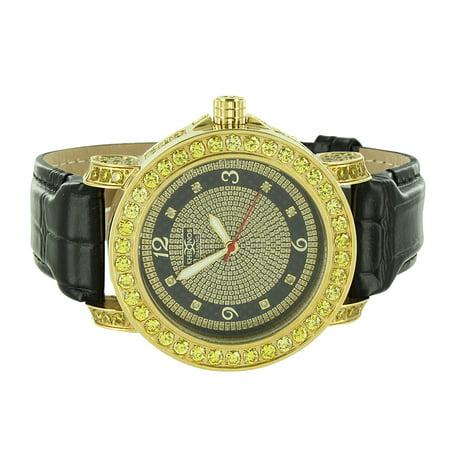 (Canary Bezel Khronos Watch Black Leather Strap Genuine Diamond Dial Gold Finish Jojo Jojino Look)