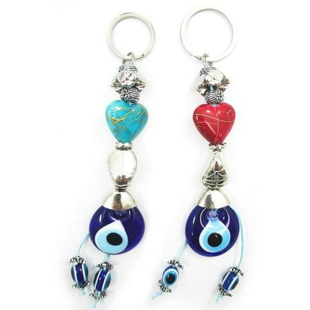 2 Evil Eye Heart Love Keychain Feng Shui Valentine Good Lucky Charm Suerte Gift
