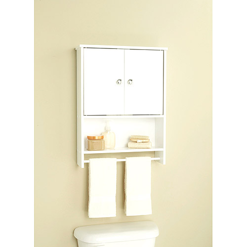 Amazing White 2 Door Wall Cabinet With Open Storage And Towel Bar