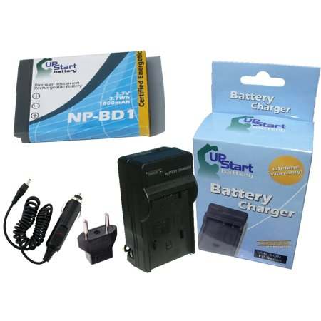 Sony Cyber-shot DSC-T200 Battery and Charger with Car Plug and EU Adapter - Replacement for Sony NP-BD1 Digital Camera Batteries and Chargers (1000mAh, 3.7V, Lithium-Ion) Np Bd1 Replacement