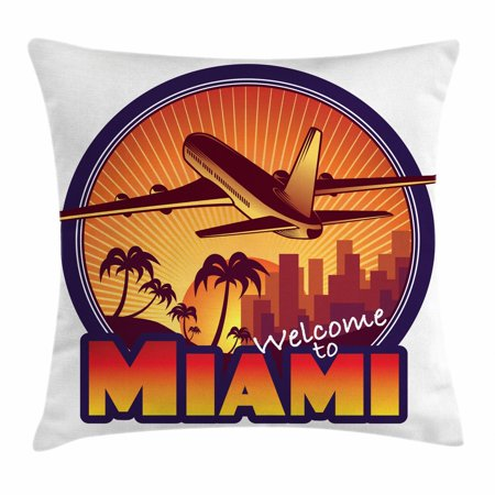 Florida Throw Pillow Cushion Cover, Welcome to Miami Airplane Palms and City at Sunset Graphic Circle, Decorative Square Accent Pillow Case, 18 X 18 Inches, Indigo Burnt Orange Brown, by - Palm Z Airplane