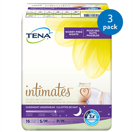 Tena Incontinence Underwear For Women, For Overnight, Medium, 48 Ct (3 Packs of 16)