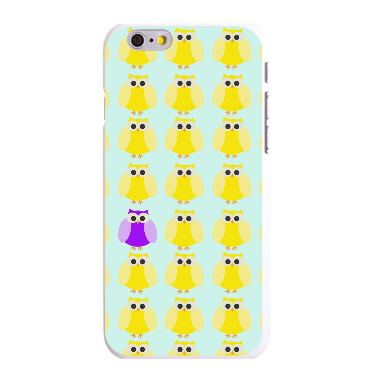 "CUSTOM White Hard Plastic Snap-On Case for Apple iPhone 6 PLUS / 6S PLUS (5.5"" Screen) - Yellow Purple Owls Cartoon"