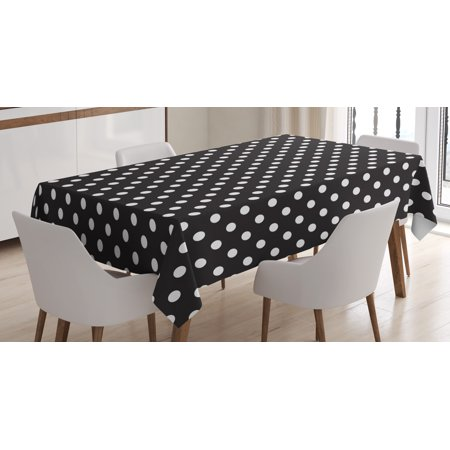 Black and White Tablecloth, Classical Pattern of White Polka Dots on Black Traditional Vintage Design, Rectangular Table Cover for Dining Room Kitchen, 60 X 84 Inches, Black White, by - Black And White Polka Dot Table Cloth