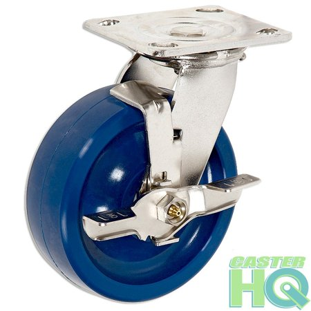 "Image of ""CasterHQ 6"""" Stainless Steel Swivel Caster with Brake - Blue Solid Poly Wheel - 1200 Lbs Cap CasterHQ Brand - S304 Stainless Steel - Anti-Rust Caster - Heavy Duty Stainless Steel Locking Caster"""