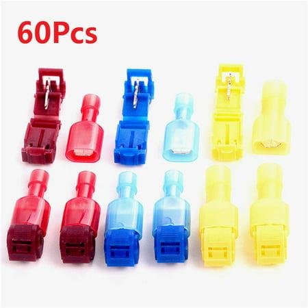 60pcs T-Tap/Male Female Insulated Wire Quick Splice Terminal Connectors Set (Splice Terminal)