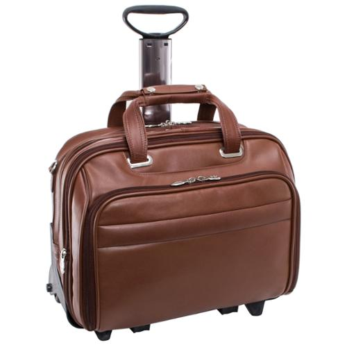 McKlein Midway Leather Checkpoint-friendly 17-inch Rolling Laptop Case Brown